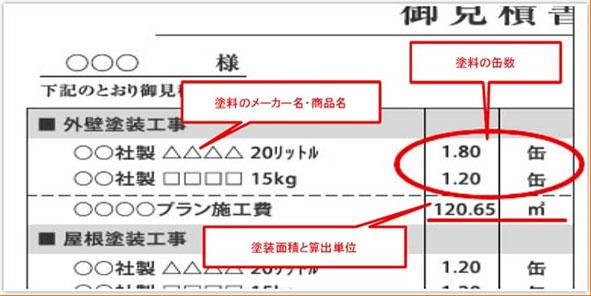 【重要】見積書で塗装面積が明確かを確認!!